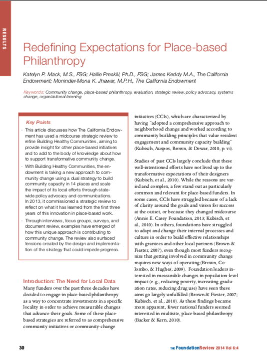 Redefining Expectations for Place-Based Philanthropy cover image